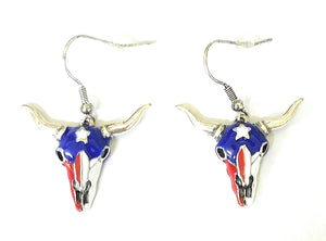 Longhorn Steer Cow Skull Texas Star Flag USA American Patriotic Hook Earrings Red White Blue