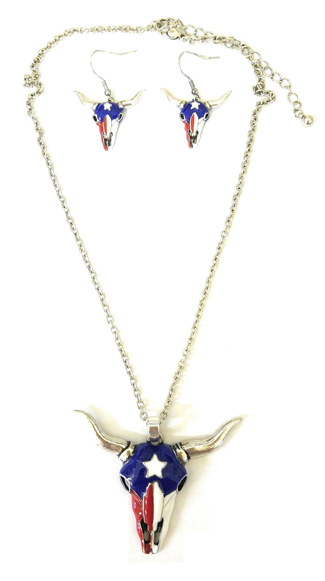 Icon Longhorn Steer Cow Skull Patriotic USA American Necklace Earrings Red White Blue