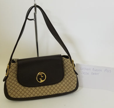 Authentic Gucci Diamante Canvas Brown Leather Trim GG Shoulder Bag Handbag Purse