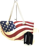 USA American Flag Patriotic Shopping Beach Tote Purse Zipper Wallet Set Beige Red Blue