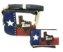 Texas Lone Star State Flag Patriotic Messenger Bag Crossbody Purse Red Blue