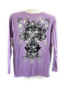 Katydid Fleur De Lis Cross Flower Floral Spiritual Rhinestone Long Sleeve Shirt Top Blue Purple
