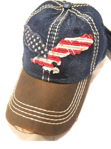 Eagle Americana USA Patriotic American Flag Vintage Distress Hat Cap Black Blue