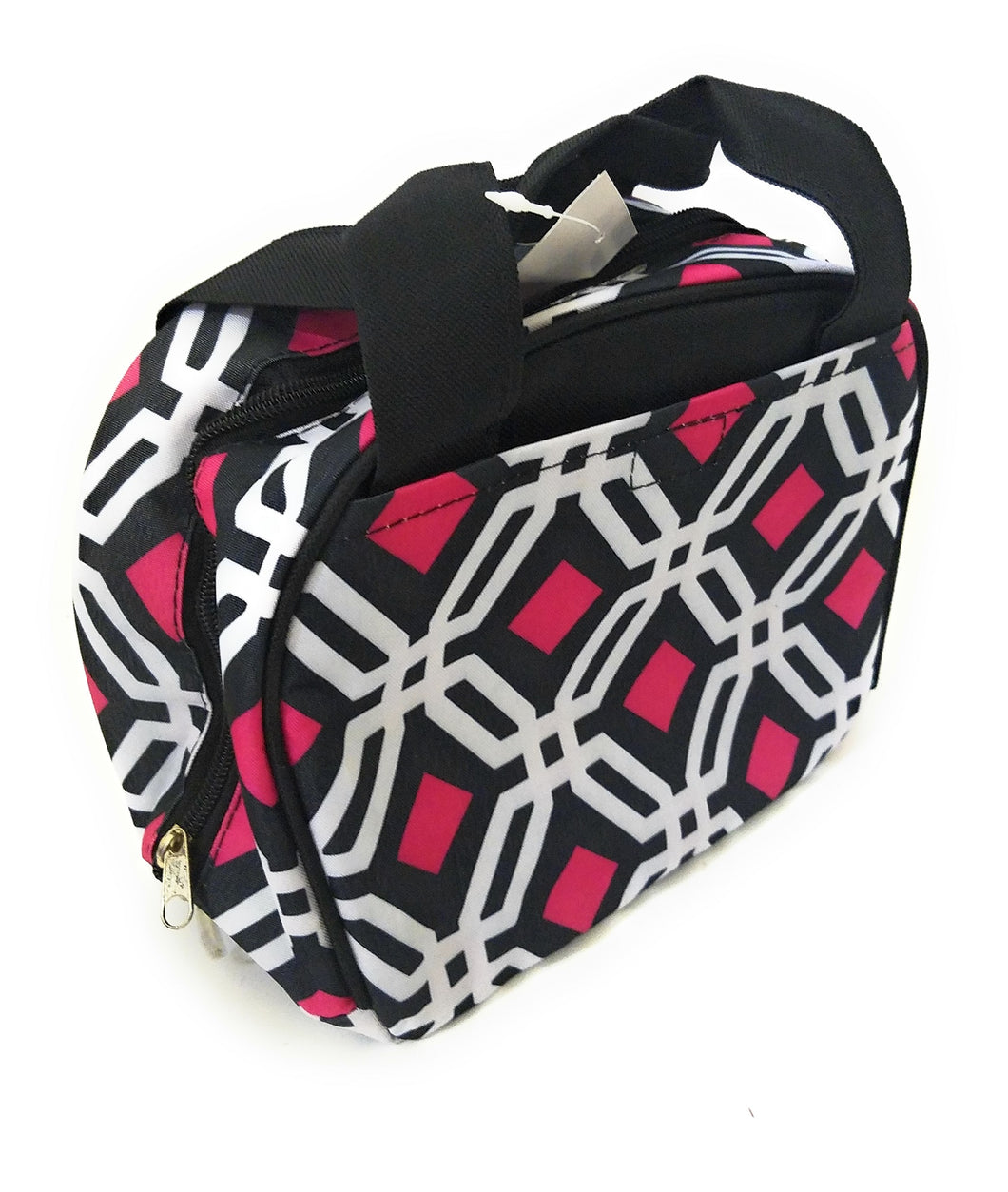 Geometric Aztec Insulated School Work Camp Travel Lunch Box Bag Case Black Pink