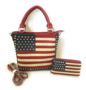 Montana West USA American Flag Concealed Carry Messenger Bag Purse Wallet Red Blue