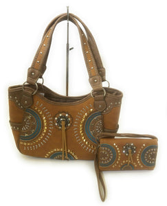Aztec Concho Fringe Tassel Concealed Carry Gun Purse Messenger Bag Wallet Set Brown Turquoise Blue