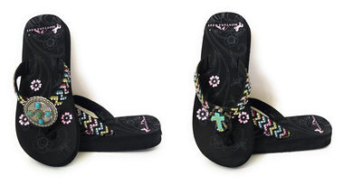 Montana West Chevron Aztec Turquoise Cross Concho Flip Flops Sandals Shoes Black