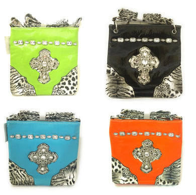 Cheetah Leopard Rhinestone Cross Body Messenger Bag Purse Black Blue Orange Green