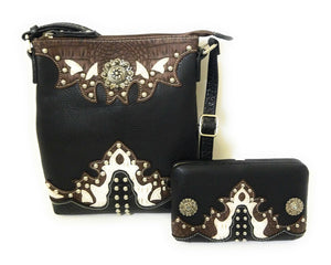 Concho Messenger Bag Cross Body Purse Pocketbook Flat Wallet Set Blue Black Pink