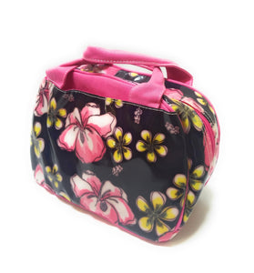 Flower Floral School Work Camp Travel Insulated Lunch Box Bag Case Black Pink Yellow