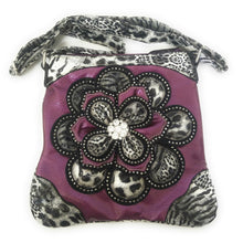 Cheetah Leopard Bling Rhinestone Flower Messenger Bag Crossbody Purse Purple
