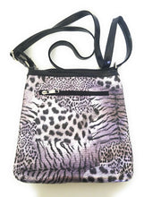 Cheetah Leopard Rhinestone Flower Messenger Bag Crossbody Purse Purple Black