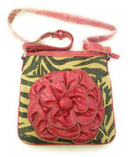 Zebra Stripes Flower Crossbody Messenger Bag Shoulder Hipster Purse Pink