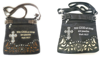 With God All Things Are Possible Concealed Carry Gun Messenger Bag Purse Black Brown