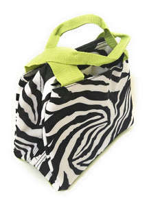 Zebra Animal Print School Work Camp Travel Insulated Lunch Box Bag Case Purple Pink Multi Color
