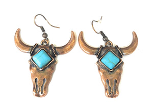 Longhorn Steer Cow Bull Skull Earrings Aztec Serape Cheetah Leopard Copper Bronze Gold Turquoise