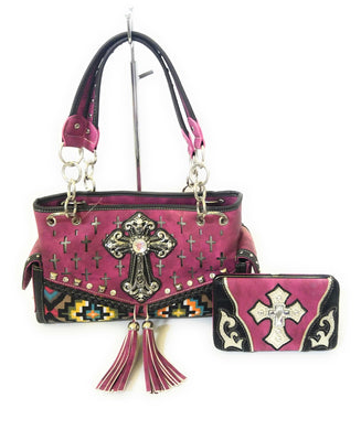 Aztec Fringe Tassel Cross Concealed Carry Gun Weapon Pistol Purse Shoulder Bag Wallet Set Pink
