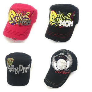 Softball Grandma Mom Grandslam Wings Sports Vintage Distressed Hat Cap Black Pink