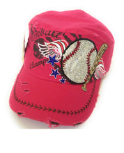 Adjustable Baseball Star Wings Bat Sports Vintage Distressed Hat Cap Pink Blue Black