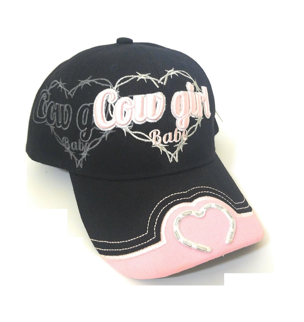 Adjustable Black Pink Cowgirl Babe Barb Wire Heart Western Cowgirl Cap Hat