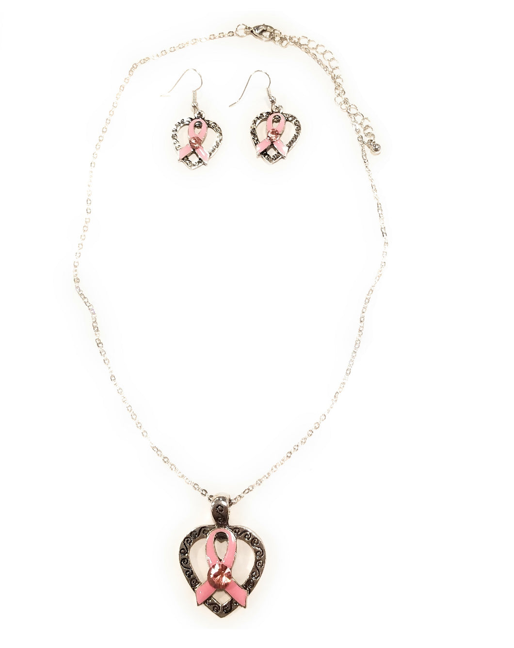 Bling Rhinestone Pink Ribbon Breast Cancer Awareness Heart Necklace Earrings Set Silver Tone 17