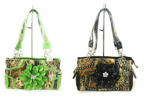 Camo Bling Rhinestone Flower Western Pocketbook Shoulder Bag Purse Black Green