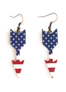 "Arrow Western Cowgirl Jewelry Earrings 2.5"" Cheetah Leopard USA Patriotic American Flag"
