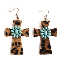 Cheetah Leopard Cross Copper Bronze Tone Fish Hook Earrings Brown Tan Rhinestone Turquoise Flower