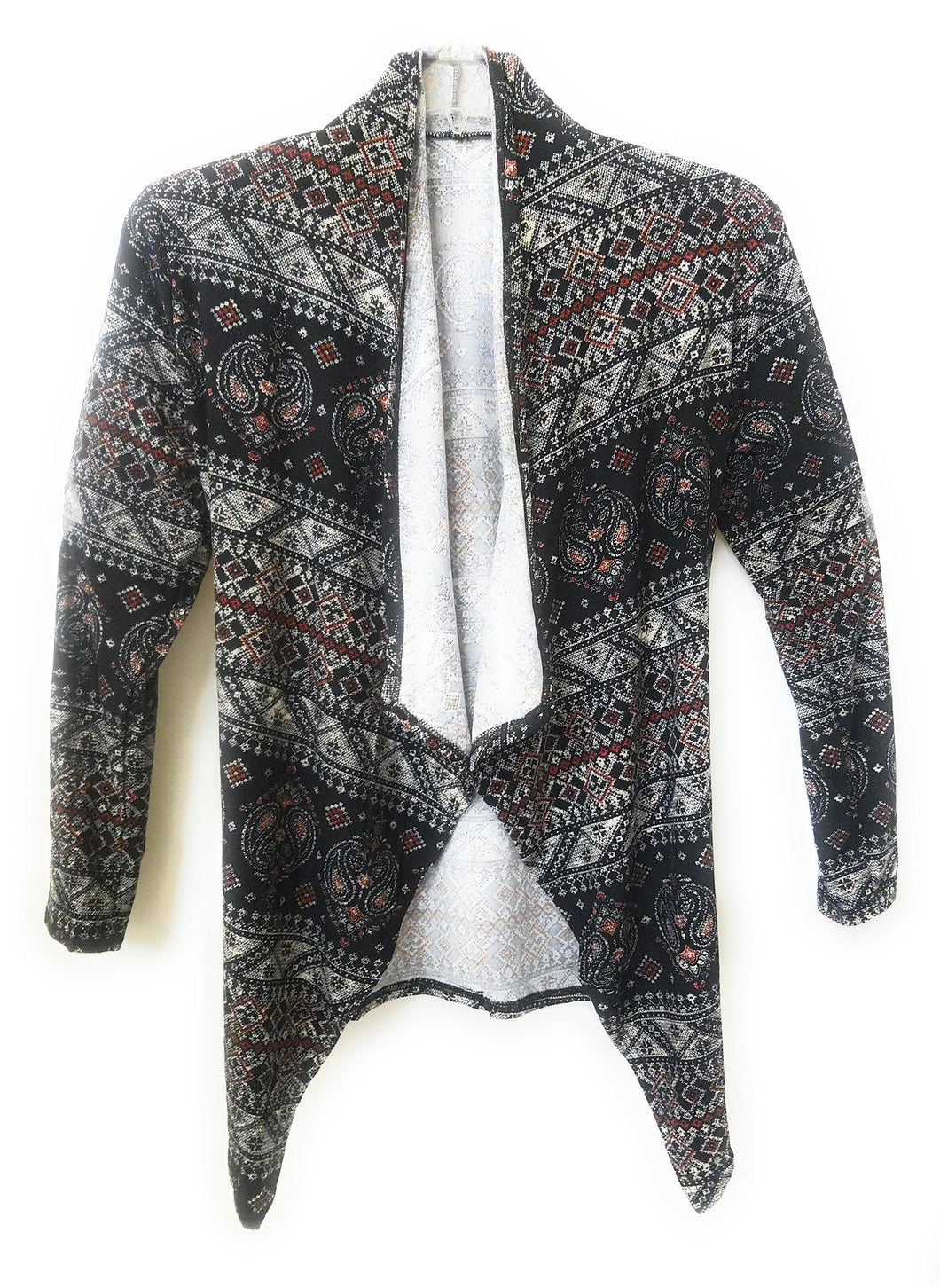 Lida Lightweight Abstract Aztec Geometric Paisley Western Jacket Coat Cardigan Black Red White