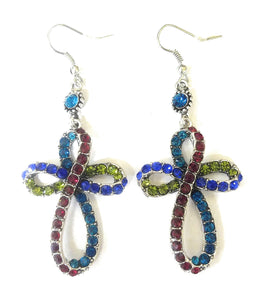Rhinestone Infinity Swirl Twist Cross Fish Hook Earrings Red Green Turquoise Blue