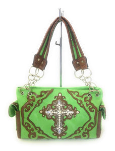 Cross Bling Rhinestone Concealed Carry Gun Pistol Weapon CCW Shoulder Bag Purse Green Brown