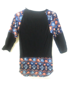 Lida Aztec Geometric Boho Clothing 3/4 Sleeve Girls Junior Shirt Top Black Blue Orange