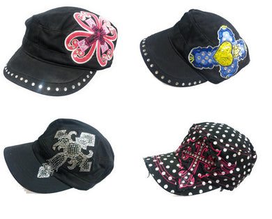 Rhinestone Cross Spiritual Vintage Distressed Womens Ladies Hat Cap Black Pink Blue Yellow Polka Dot
