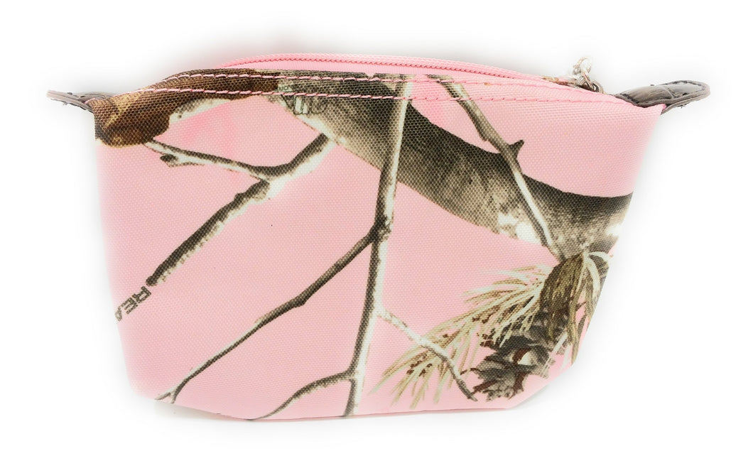 Realtree Camo Camouflage Zipper Cosmetic Makeup Bag Carry Travel Case Pink Brown