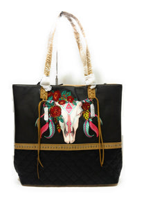 Montana West Longhorn Steer Bull Skull Flower Feather Tassel Aztec Basketweave Purse Black Tan