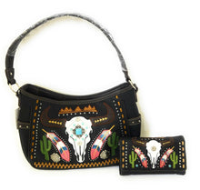 Longhorn Steer Aztec Cactus Feather Concealed Purse Messenger Bag Wristlet Wallet Black