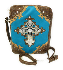 Cross Spiritual Rhinestone Messenger Bag Crossbody Bible Cover Book Case Handle Turquoise Blue Brown Tan