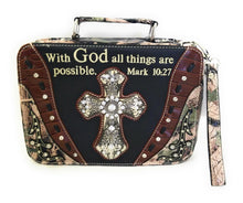 With God All Things Possible Mark10:27 Verse Rhinestone Cross Bible Cover Case Camo Brown