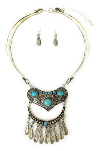 Feather Aztec Western Cowgirl Jewelry Choker Necklace Earrings Set Turquoise Blue