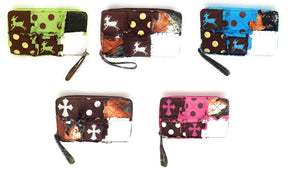 Deer or Cross Patchwork Polka Dot Camo Zipper Wristlet Ladies Womens Wallet Pink Blue Brown Green
