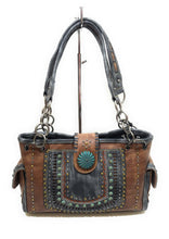 Montana West Concealed Carry CCW Patina Turquoise Blue Studded Concho Purse Brown