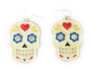 Sugar Skull Heart Flower Rhinestone Biker Jewelry Earrings Off White Red Blue