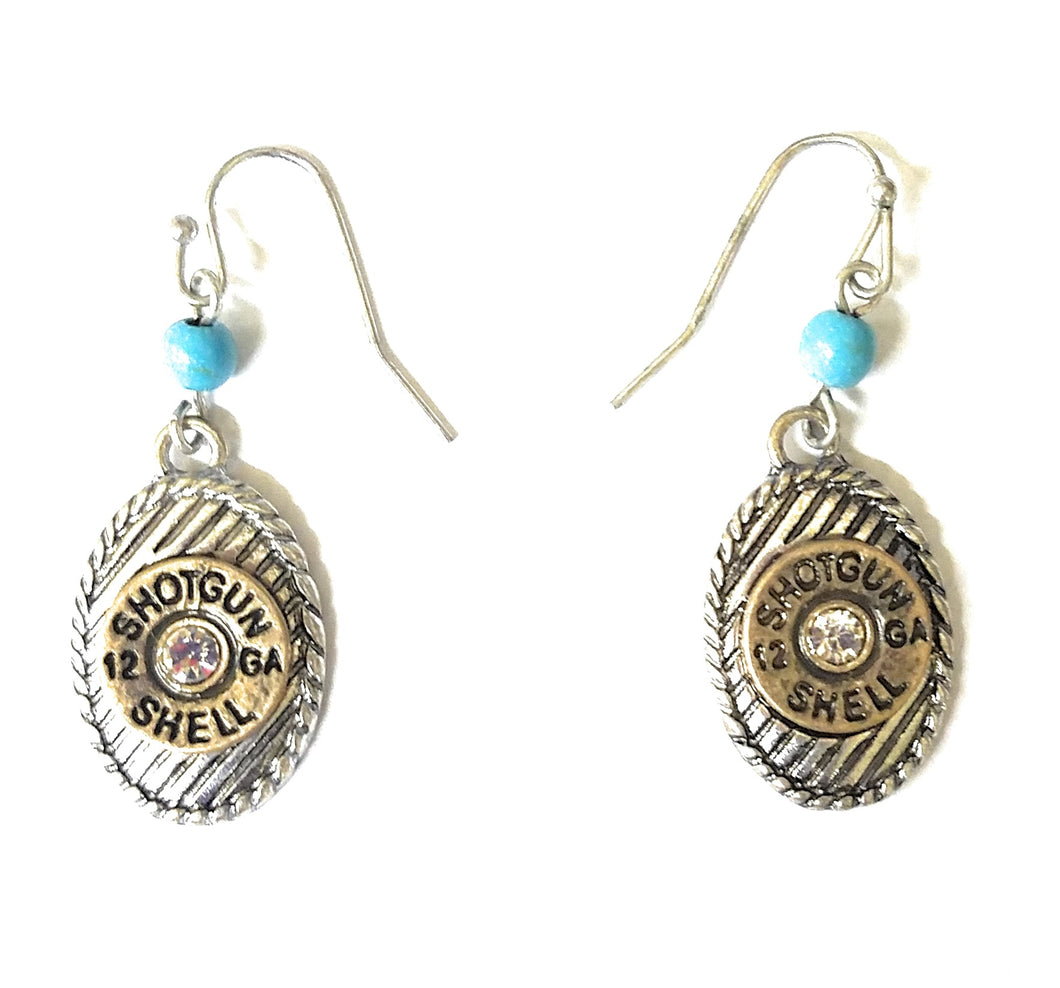 Faux 12 Ga Gauge Shell Bullet Jewelry Rhinestone Gold Silver Turquoise Blue Earrings