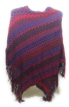Chevron Stripes Fall Winter Poncho Hippy Fringe Tassel Cover Up Shawl Wrap Blue White Purple Red