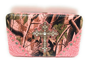 Camo Camouflage Rhinestone Bling Cross Spiritual Western Ladies Womens Flat Wallet Pink Brown Green