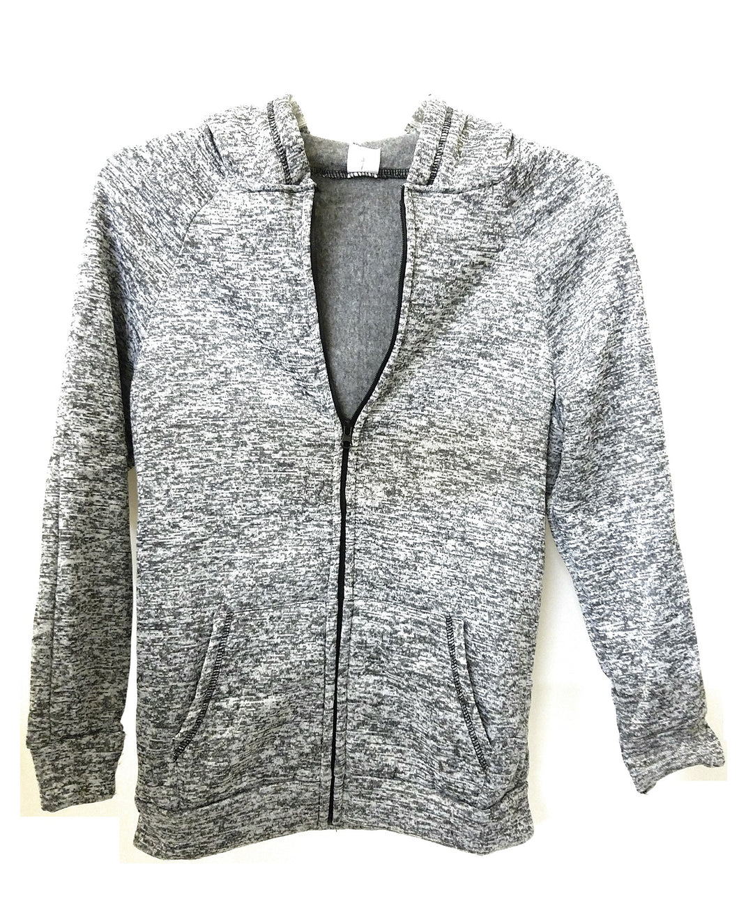 Striped Zipper Womens Ladies Jacket Sweatshirt Coat Hoodie Front Pockets Gray