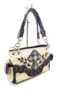 Cross Floral Concealed Carry Gun Weapon CCW Rhinestone Purse Purple Beige Off White
