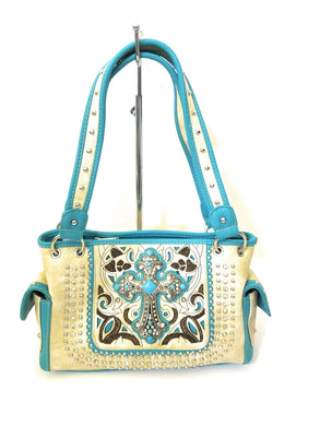 Concealed Carry CCW Rhinestone Cross Purse Shoulder Bag Beige Turquoise Blue