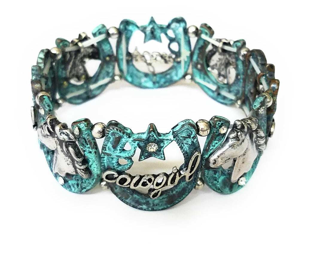 Horse Horseshoe Bling Rhinestone Jewelry Stretch Bracelet Black Patina Turquoise Blue Silver Copper