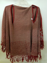 Fringe Cheetah Leopard Western Winter Fall Poncho Shawl Wrap Sweater Top Cover Up Black Red